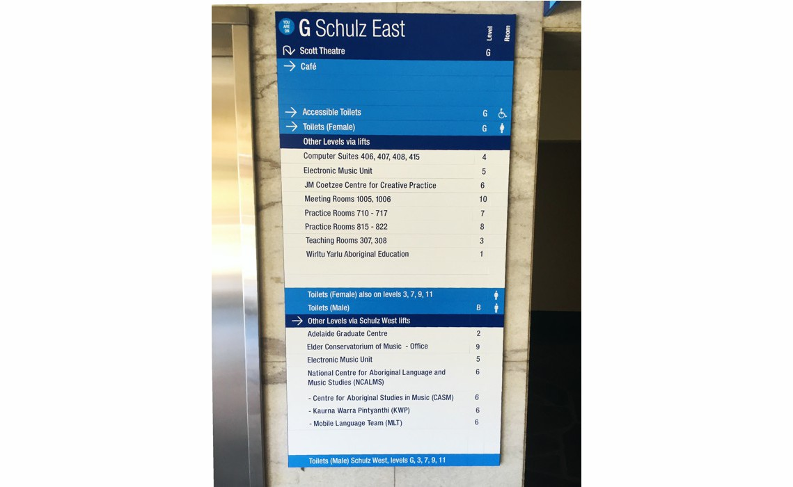 AM Series Directory Board - Adelaide University