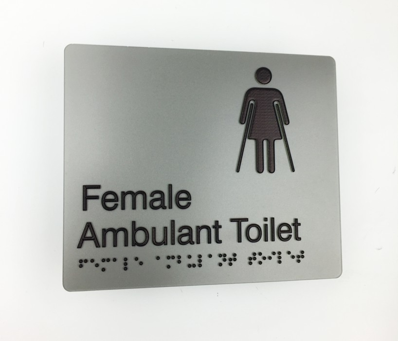 Braille3D - Female Ambulant Toilet Sign - Grey