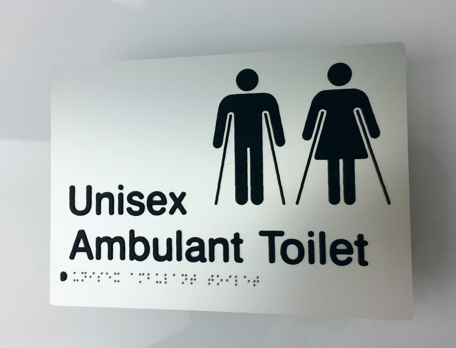 Braille3D - Unisex Ambulant Toilet Sign - Silver