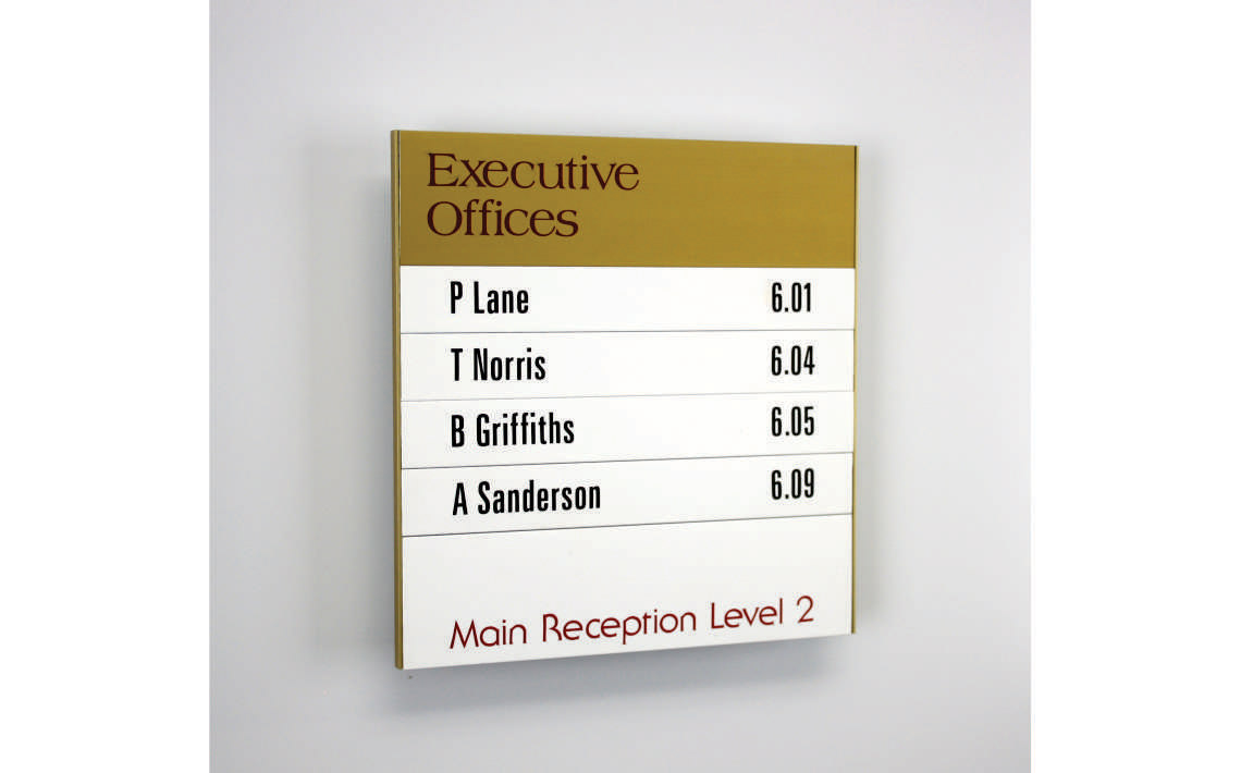 AM Series Mini Directory Board with Gold Anodised and Painted Finish