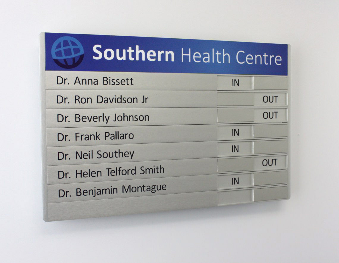 AM Series Directory Board with Doctors Names and In / Out Slider Section