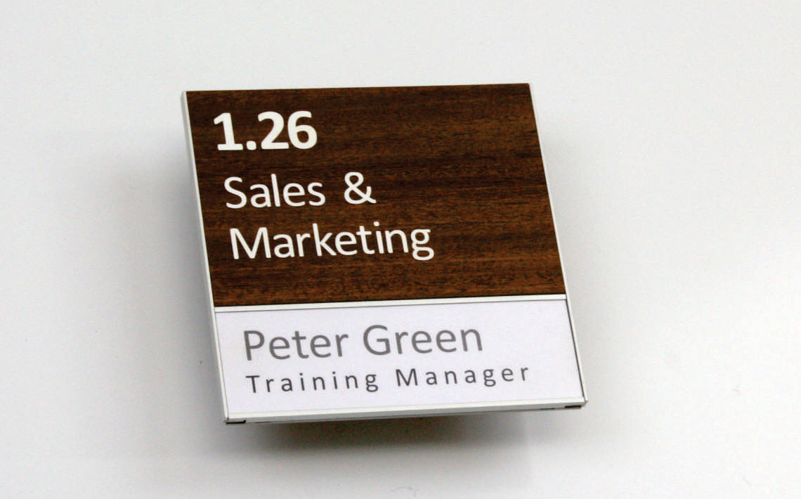 AM Series Room Sign with slider insert and acetate woodgrain laminate on header 03