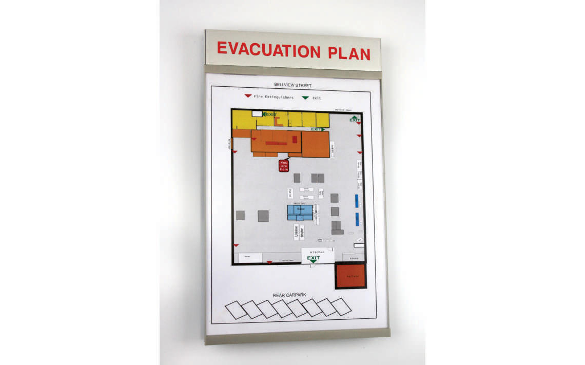Poster Holder Series 2A4P with evacuation map 01