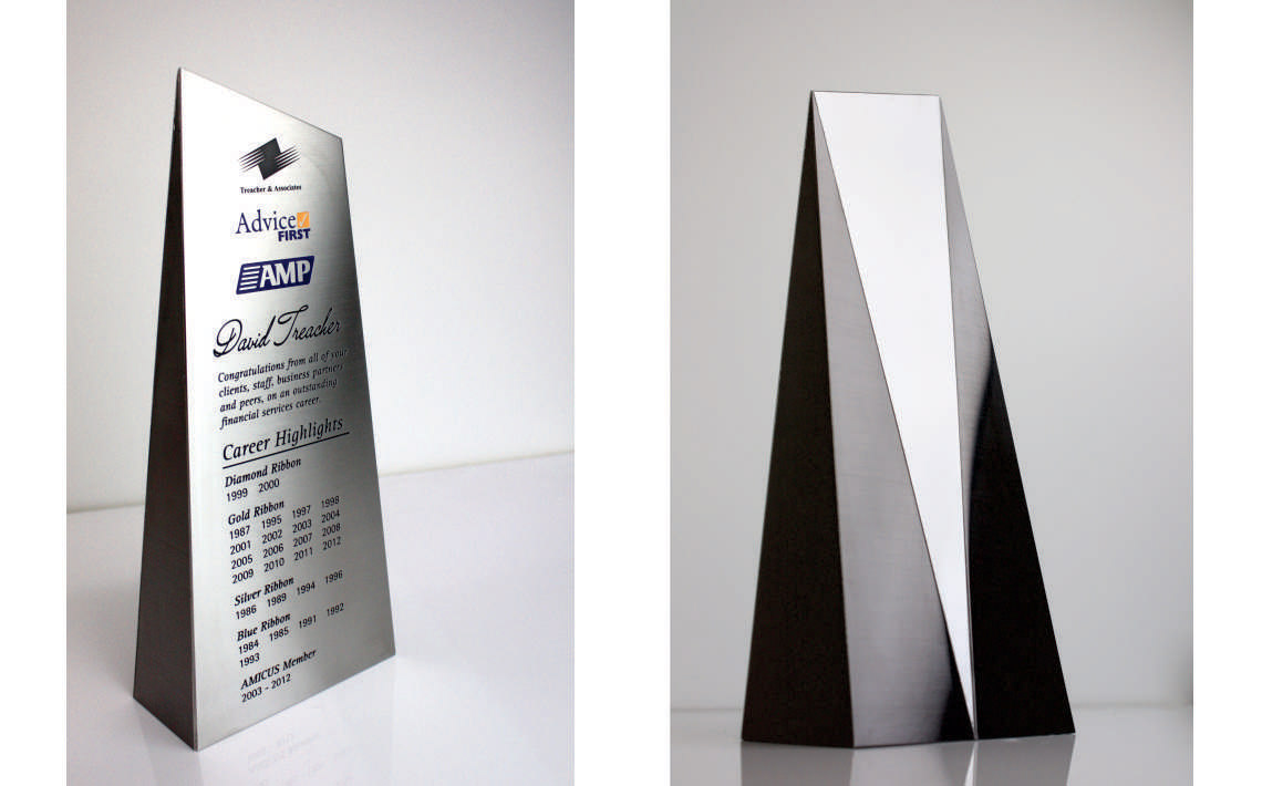 Fabricate3D Trophy Polished Stainless Steel and Linished Black Titanium