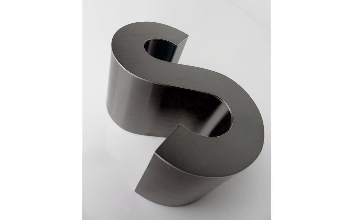 Fabricate3D Linished Black Titanium Letter S