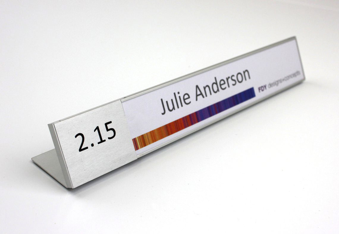 AM Series Desk Sign with 2.1 Insert with paper and Acetate 262 X 42