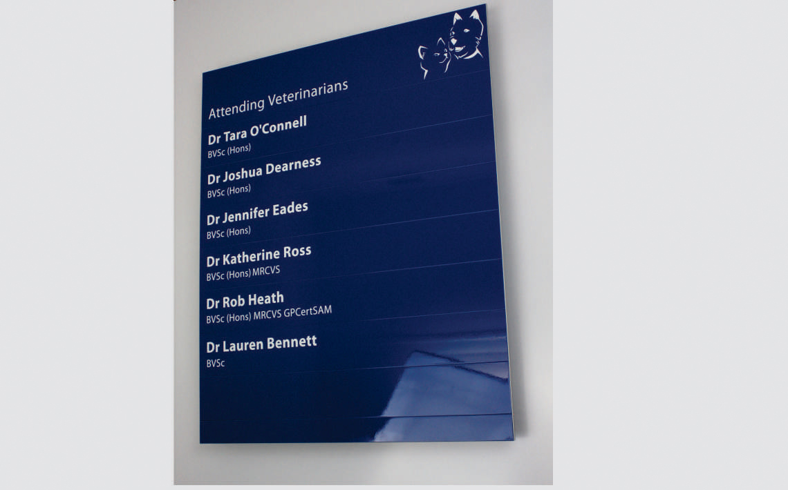 AM Series Directory Board with painted finish and vinyl graphics