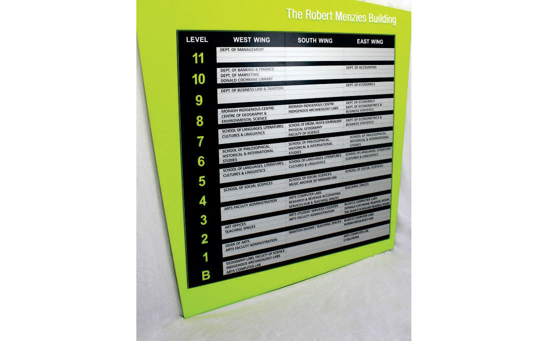 AM Series Directory Board in Custom MDF Frame