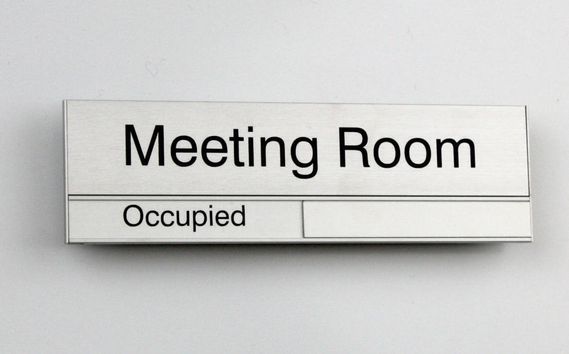 AM Series Meeting Room Sign 210 x 63  Top Insert is 42mm High, Slider Insert is 21mm High