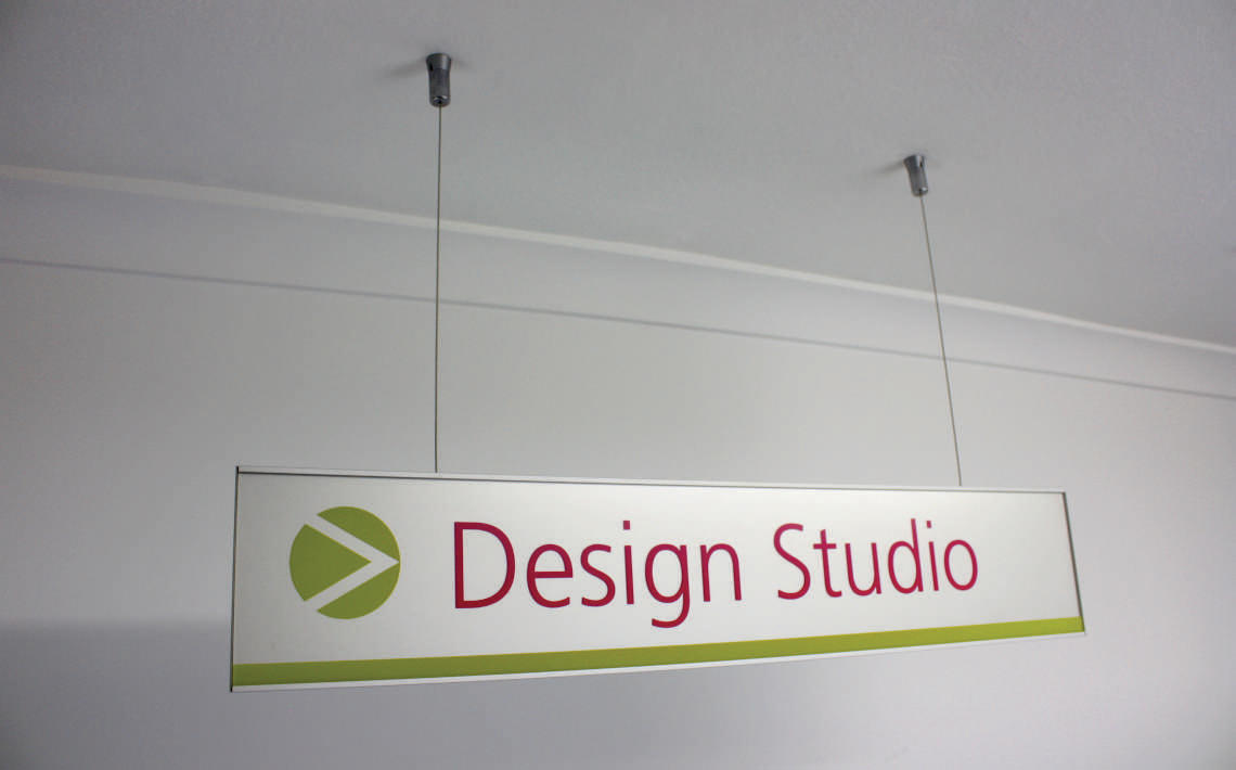 hanging signs suspended s2k identity systems. Black Bedroom Furniture Sets. Home Design Ideas